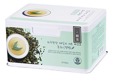 Купить Ежедневная тканевая маска для лица с экстрактом зеленого чая Green Tea Soothing Daily Sheet Mask 33шт, A'PIEU
