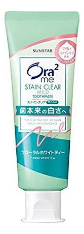 Фото - Зубная паста отбеливающая Ora2 Me Stain Clear Mild Toothpaste 130мл (чай с жасмином) зубная паста sunstar ora2 me natural mint 130 г