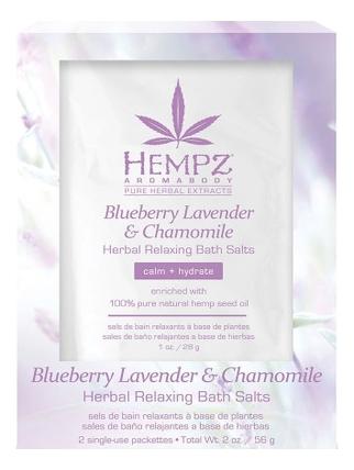 Купить Расслабляющая соль для ванны Blueberry Lavender & Chamomile Herbal Relaxing Bath Salts 2*28г (лаванда, ромашка и дикие ягоды): Соль 2*28г, Расслабляющая соль для ванны Blueberry Lavender & Chamomile Herbal Relaxing Bath Salts (лаванда, ромашка и дикие ягоды), Hempz