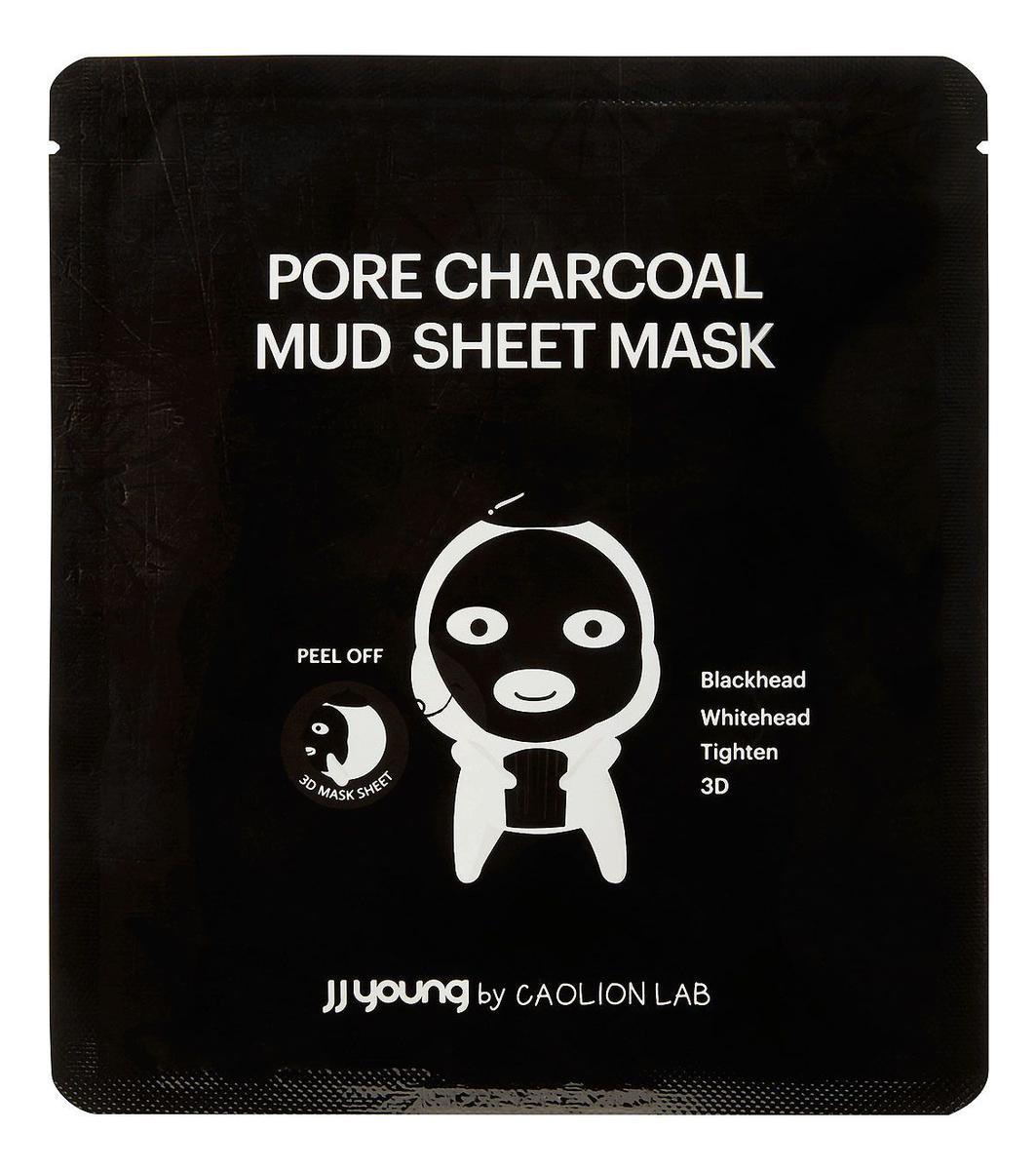 Купить Глиняная маска для лица от черных точек с экстрактом угля Pore Charcoal Mud Sheet Mask 25мл, JJ Young