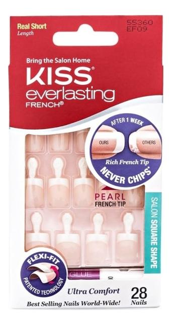 цена на Накладные ногти Ультра стойкий французский маникюр Everlasting French EF09 28шт (короткая длина)