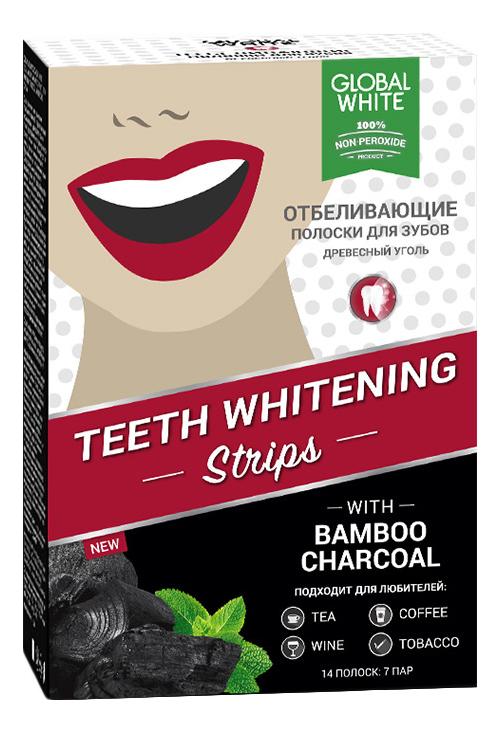 Отбеливающие полоски для зубов Teeth Whitening Strips (древесный уголь) полоски для отбеливания зубов teeth whitening strips active oxygen 14штук полоски 14шт