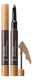 цена на Тушь-карандаш для бровей Eco Soul Brow Pencil & Mascara 0,2г/2,5мл: 01 Light Brown