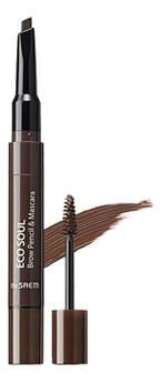 Тушь-карандаш для бровей Eco Soul Brow Pencil & Mascara 0,2г/2,5мл: 03 Dark Brown недорого