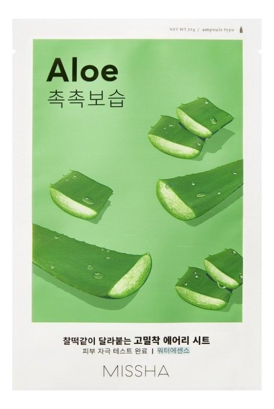 Тканевая маска для лица с экстрактом алоэ Airy Fit Sheet Mask Aloe 19г тканевая маска для экспресс увлажнения лица с экстрактом алоэ so delicious aloe mask sheet 25мл