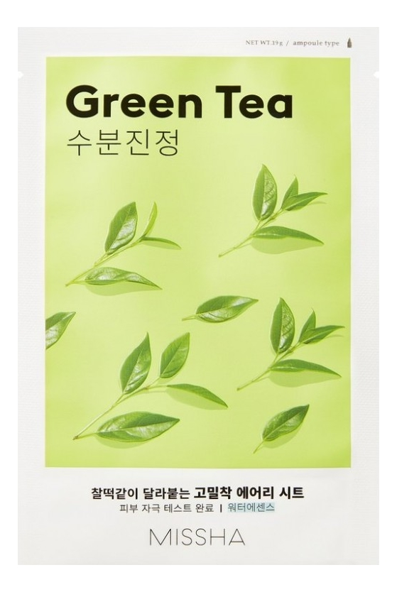 Купить Тканевая маска для лица с экстрактом зеленого чая Airy Fit Sheet Mask Green Tea 19г, Missha