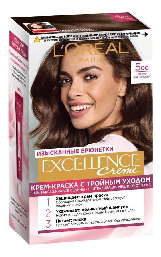 Купить Крем-краска для волос Excellence Creme 192мл: 500 Светло-каштановый, L'oreal
