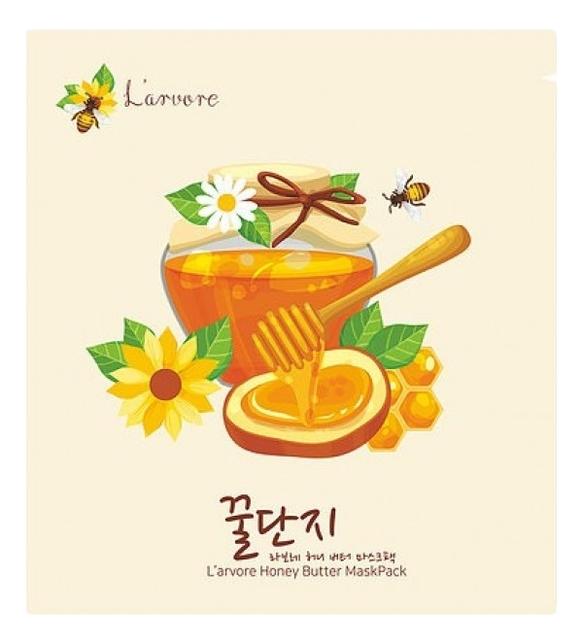 Купить Тканевая маска для лица с медом и пептидами Honey Butter Mask Pack 25г: Маска 1шт, L'arvore