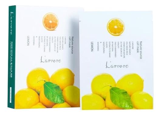Тканевая маска для лица с экстрактом лимона Nature Source Cell Mask Lemon 25г: Маска 5шт тканевая маска для лица с экстрактом граната nature source cell mask pomegranate 25г маска 5шт