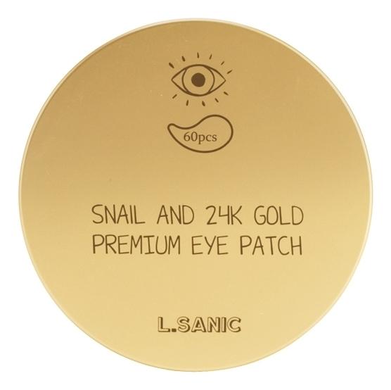 Купить Патчи для глаз с муцином улитки и золотом Snail Аnd 24K Gold Premium Eye Patch 60шт, L.Sanic