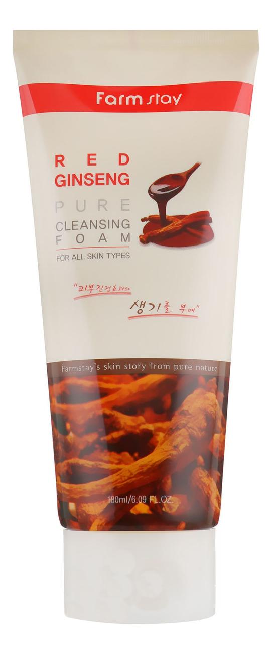 Пенка для умывания с экстрактом красного женьшеня Red Ginseng Pure Cleansing Foam 180мл