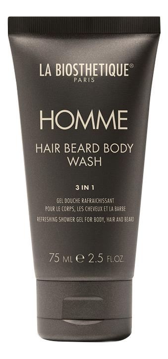 Очищающий гель для тела, волос и бороды Homme Hair Beard Body Wash: Гель 75мл
