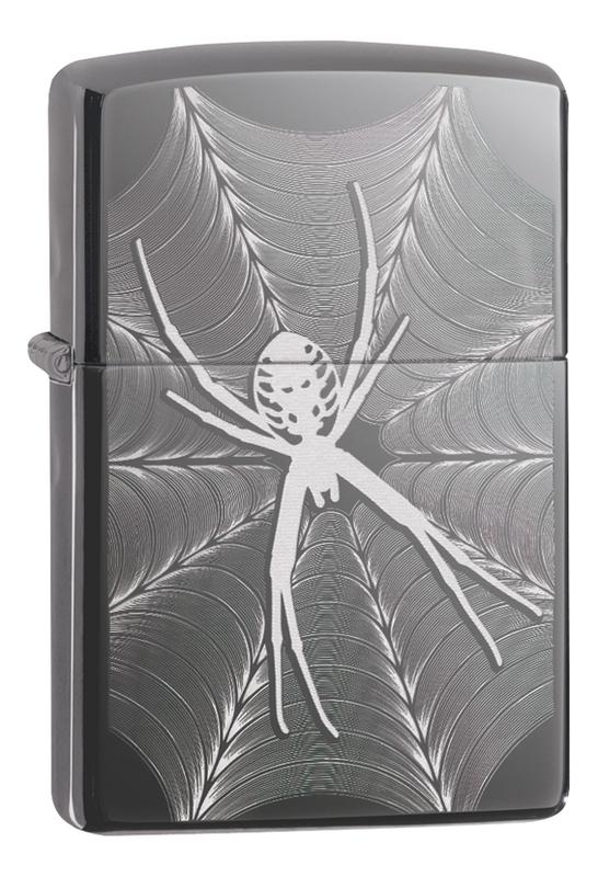 Зажигалка Classic Spider & Web Design 29733 (черная, глянцевая)