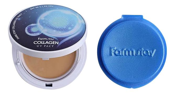 Купить Компактная крем-пудра для лица с коллагеном Collagen UV Pact SPF50+ PA+++ 2*12г: 13 Light Beige + сменный блок, Farm Stay