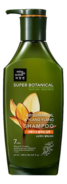 Купить Восстанавливающий шампунь для волос Super Botanical Abyssinian Oil & Ylang Ylang Shampoo 500мл, Восстанавливающий шампунь для волос Super Botanical Abyssinian Oil & Ylang Ylang Shampoo 500мл, Mise En Scene