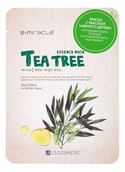 Купить Тканевая маска для лица с экстрактом чайного дерева S+Miracle Tea Tree Essence Mask 25г, LS Cosmetic