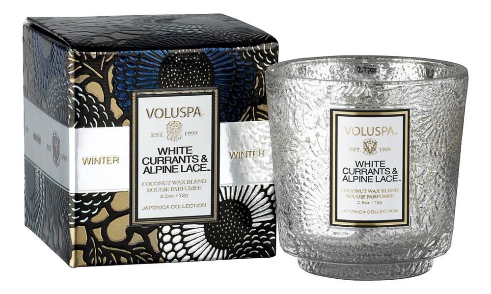 Ароматическая свеча White Currants & Alpine Lace (белая смородина и альпийские кружева): В маленьком подсвечнике коробке