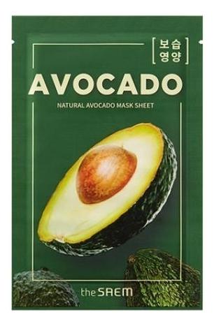 Купить Тканевая маска с экстрактом авокадо Natural Avocado Mask Sheet 21мл, The Saem