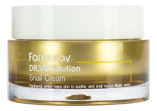 Купить Крем для лица с муцином улитки Dr.V8 Solution Snail Cream 50мл, Farm Stay
