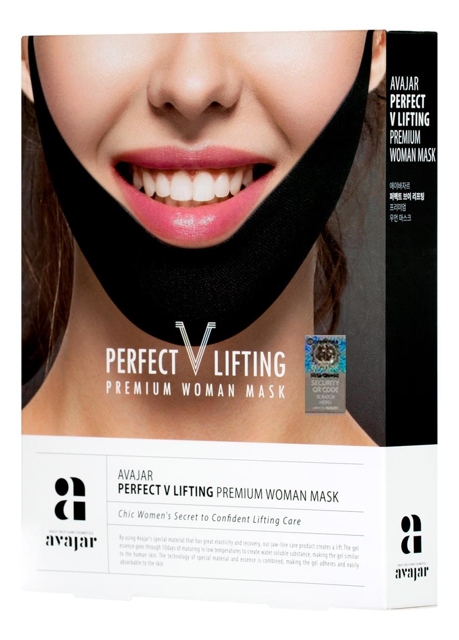 Лифтинговая маска для лица Perfect V Lifting Premium Woman Black Mask (черная): Маска 5шт