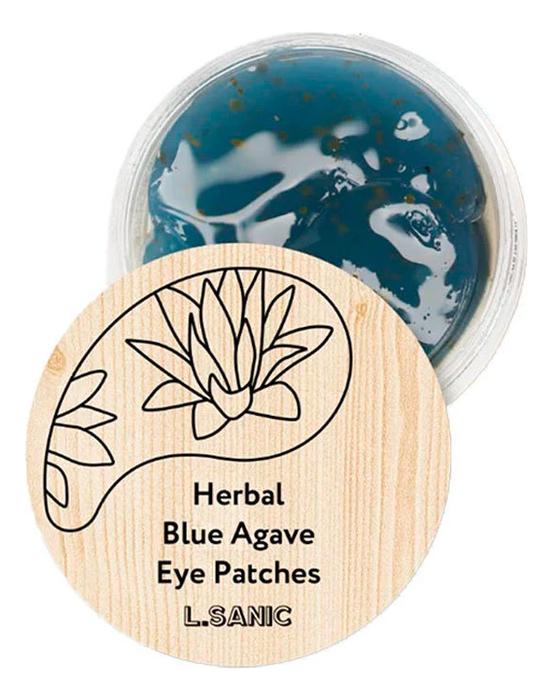 Гидрогелевые патчи для области вокруг глаз Herbal Blue Agave Hydrogel Eye Patches: Патчи 60шт l sanic патчи herbal centella asiatica hydrogel eye patches гидрогелевые с экстрактом центеллы 60 шт