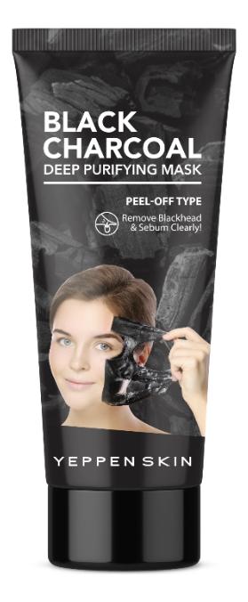 Маска-пленка для лица с углем от черных точек Yeppen Skin Black Charcoal Deep Purifying Mask 100г недорого