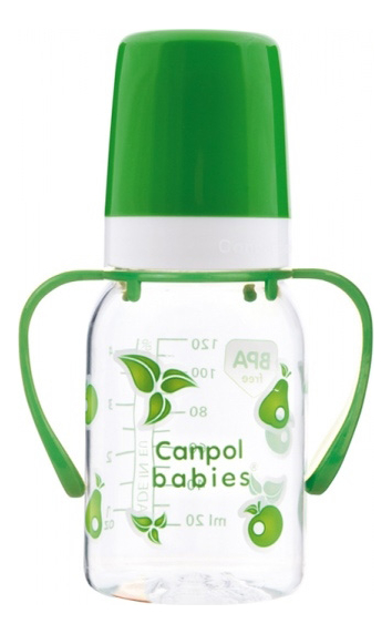 Бутылочка тритановая с ручками (BPA 0%) 3+ 120мл (в ассортименте)