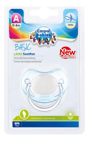 Купить Пустышка анатомическая латексная Basic (0-6 мес), Canpol Babies