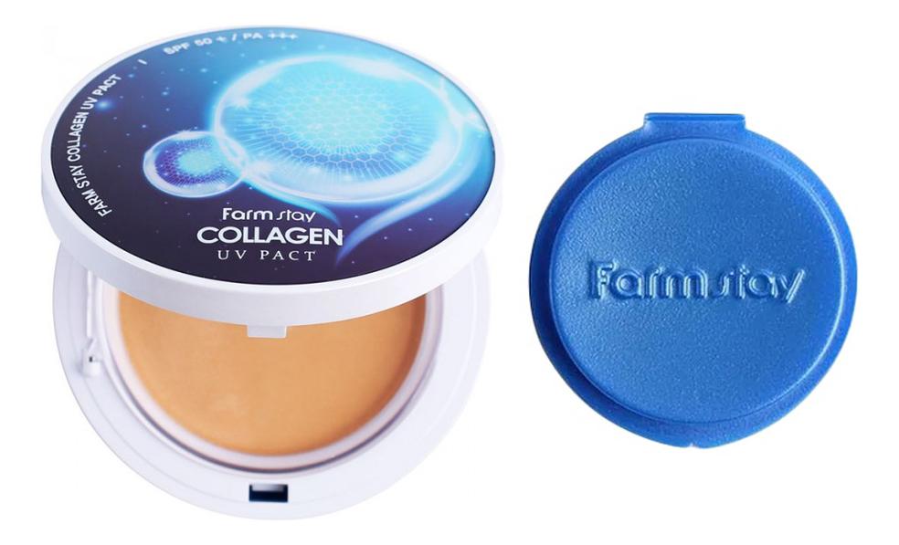 Купить Компактная крем-пудра для лица с коллагеном Collagen UV Pact SPF50+ PA+++ 2*12г: 23 Natural Beige + сменный блок, Farm Stay