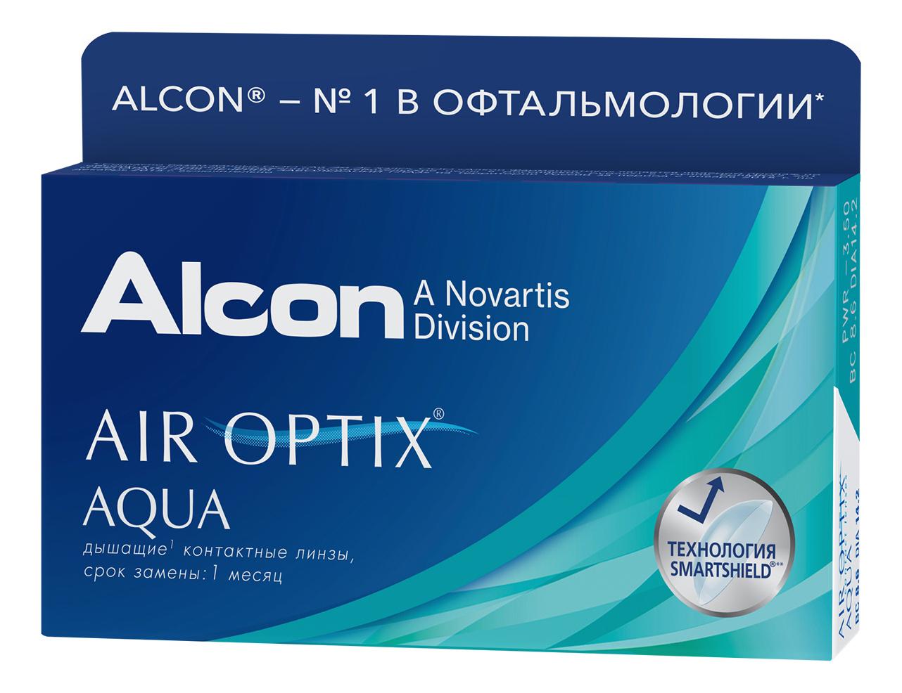 Дышащие контактные линзы AIR Optix Aqua (6 блистеров): оптическая сила -5,00; радиус кривизны 8,6 контактные линзы alcon air optix aqua 6 шт r 8 6 d 05 25