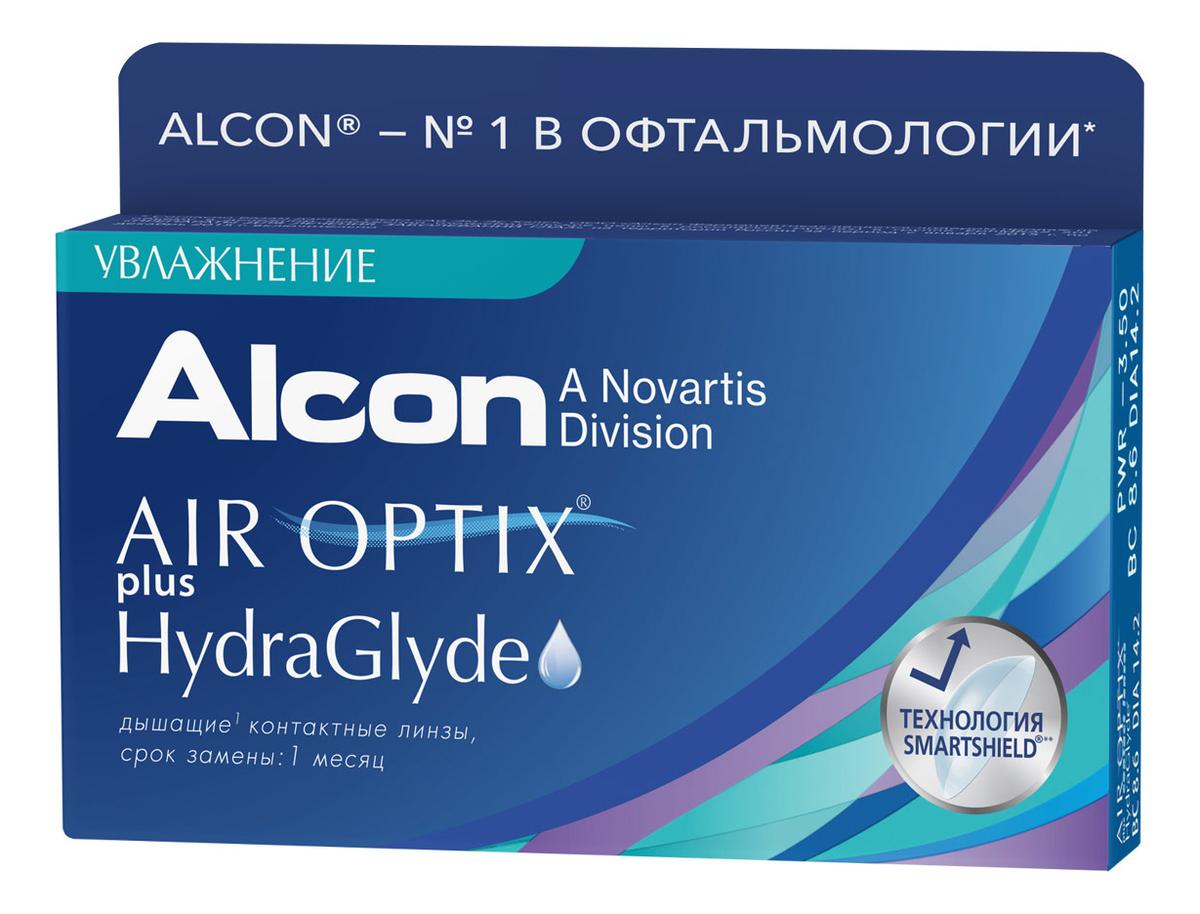 Дышащие контактные линзы Air Optix Plus HydraGlyde (3 блистера): оптическая сила +7,00; радиус кривизны 8,6 фартук fine line серый