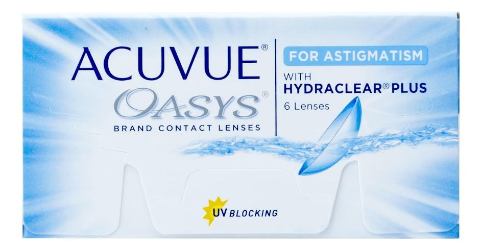 Контактные линзы Oasys For Astigmatism With Hydraclear Plus (6 блистеров): оптическая сила -1,00; ось 90; цилиндр -2,25