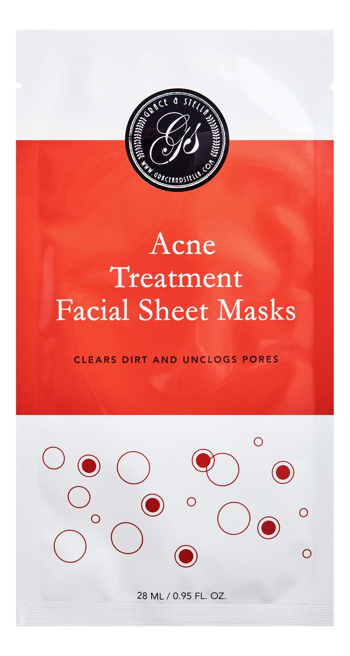 Тканевая маска для проблемной кожи лица Acne Treatment Facial Sheet Masks 6шт