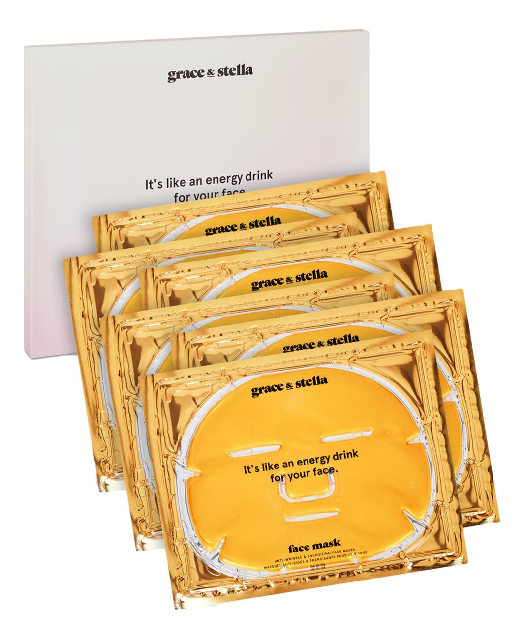 Купить Энергетическая маска для лица с коллагеном и коллоидным золотом Anti Wrinkle + Energizing Face Masks: Маска 6шт, Grace and Stella