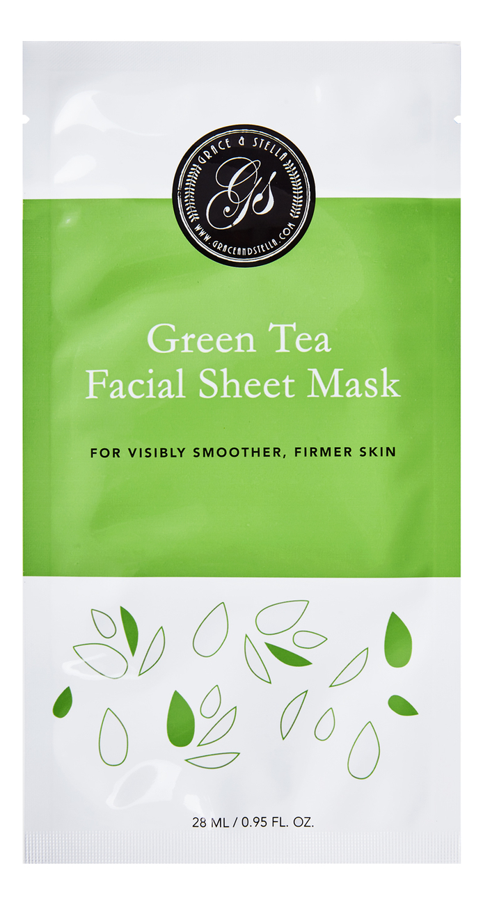 Тканевая маска для лица с экстрактом зеленого чая Green Tea Facial Sheet Mask 6шт, Grace and Stella  - Купить