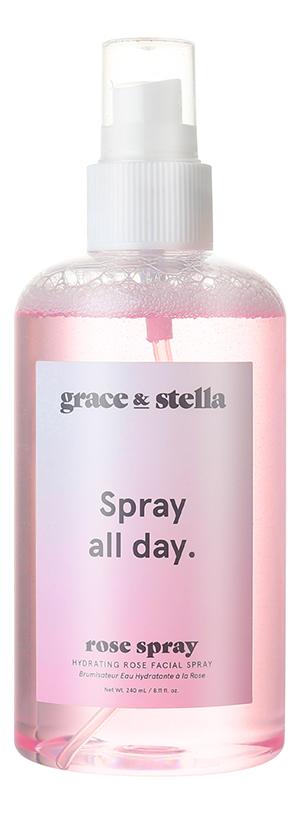 Купить Увлажняющий спрей для лица с гидролатом розы Hydrating Rose Facial Spray 240мл, Grace and Stella