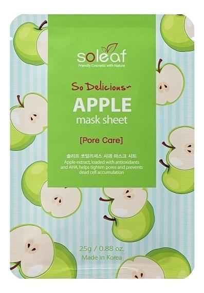 Тканевая маска для лица с экстрактом яблока So Delicious Apple Mask Sheet 25мл тканевая маска для экспресс увлажнения лица с экстрактом алоэ so delicious aloe mask sheet 25мл
