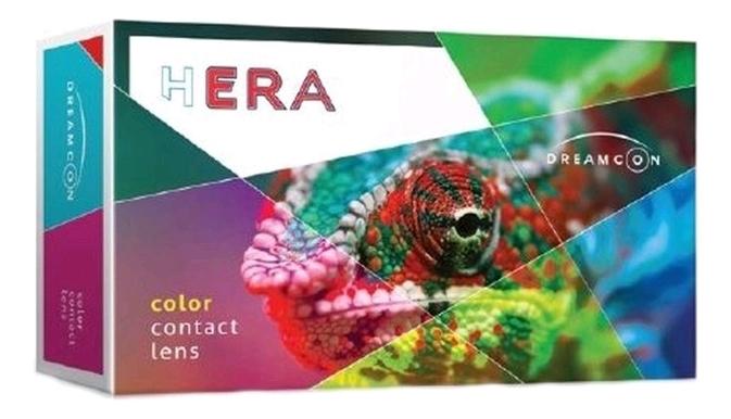 Цветные контактные линзы Hera Color Party Plano (2 блистера): оптическая сила +0,00; цвет green