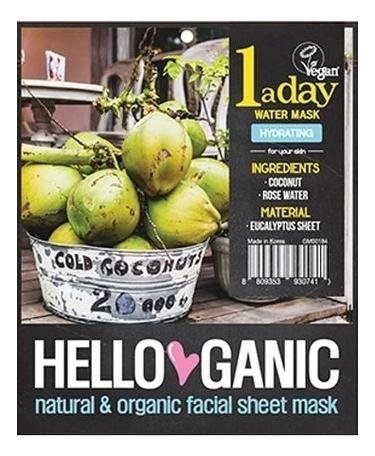 Купить Увлажняющая маска для лица с кокосовой водой и экстрактом алоэ вера One A Day Fruit Mask 23мл, Hello Ganic