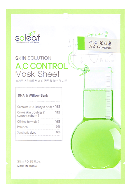 Купить Тканевая маска для лица с экстрактом коры черной ивы Skin Solution A.C Control Mask Sheet 25мл, Soleaf