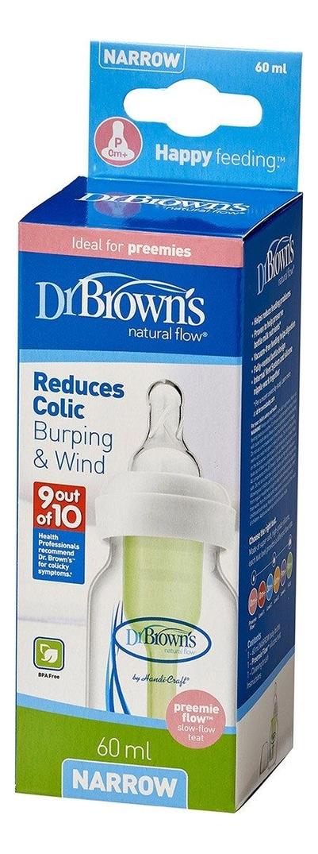 Бутылочка с узким горлышком антиколик, соска для недоношенных детей Natural Flow Options SB2100 60мл