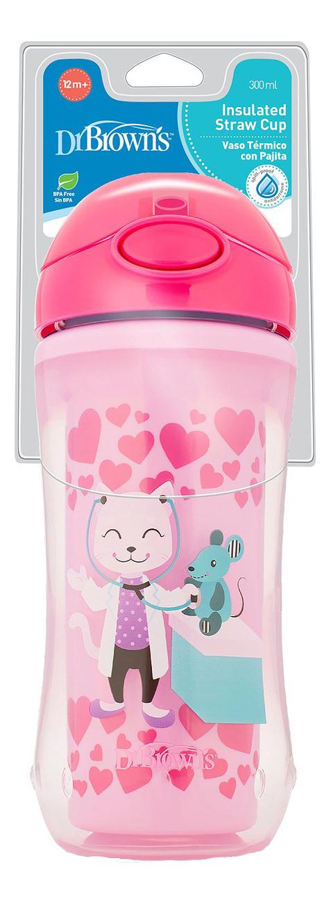 Чашка-термос с трубочкой Insulated Straw Cup TC01020 300мл (розовая)
