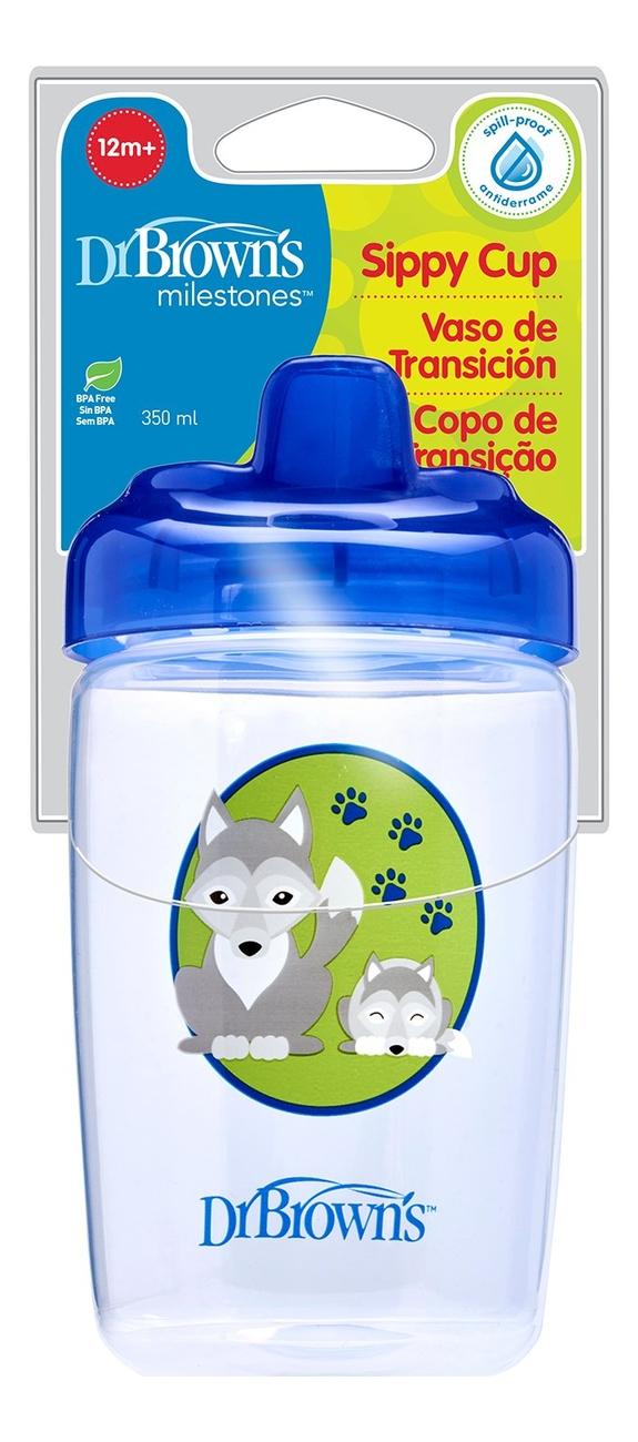 Чашка-поильник с твердым носиком Синий волчонок Milestones Sippy Cup TC21013 350мл (от 12 мес)