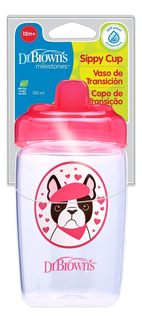 Чашка-поильник с твердым носиком Розовая собачка Milestones Sippy Cup TC21012 350мл (от 12 мес)