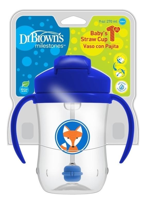 Купить Чашка-непроливайка с гибкой трубочкой с грузиком, ручками и откидывающейся крышкой Baby's 1st Straw Cup 6+ TC91012 270мл, Dr. Brown's