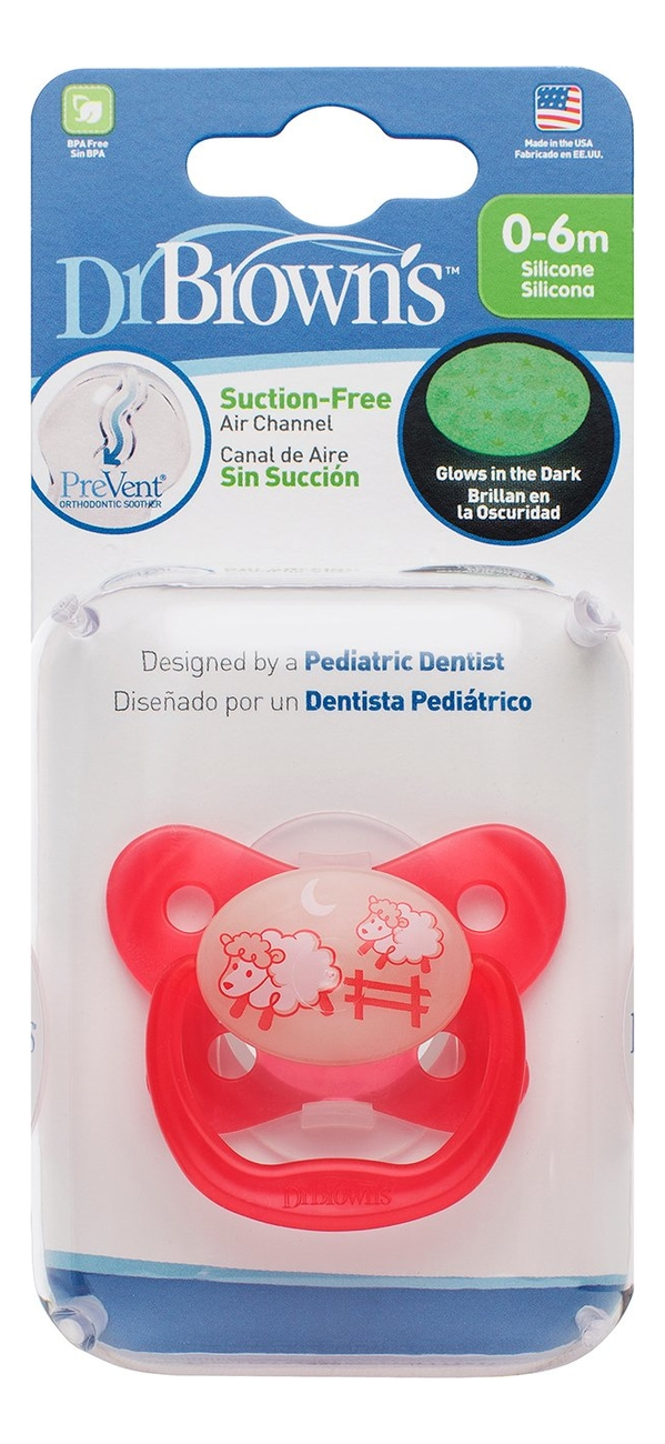 пустышка dr brown's prevent 2 шт pv22014 Пустышка ночная, с колпачком PreVent PV11007 (0-6 мес, розовая)