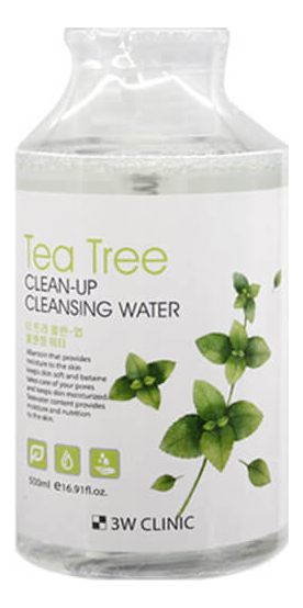 Очищающая вода для снятия макияжа Tea Tree Clean-Up Cleansing Water 500мл очищающая вода для снятия макияжа jeju sparkling cleansing water 510мл
