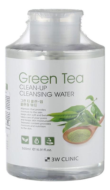 Очищающая вода для снятия макияжа с экстрактом зеленого чая Green Tea Clean-Up Cleansing Water 500мл очищающая вода для снятия макияжа jeju sparkling cleansing water 510мл