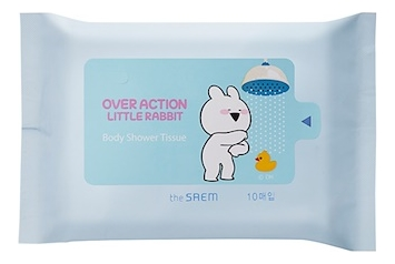 Очищающие салфетки для тела Rabbit Overaction Manner Mode Body Shower Tissue 10шт