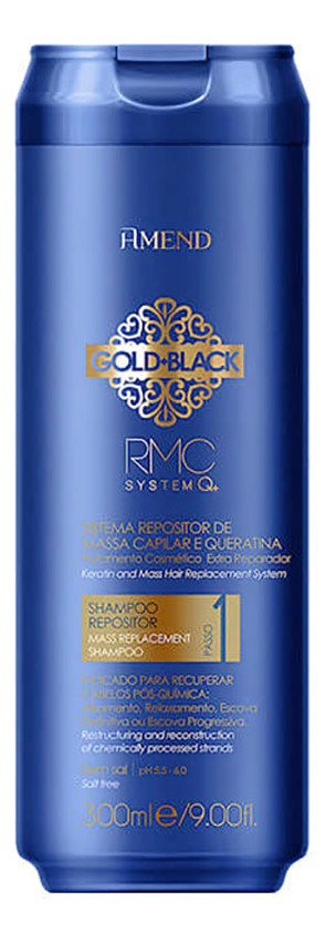Шампунь для волос Capillary Mass And Keratin Repositioning Shampoo Gold Black RMC System Q+ 300мл
